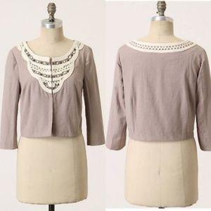Anthropologie Linen Embellished Jacket Idra Jewel
